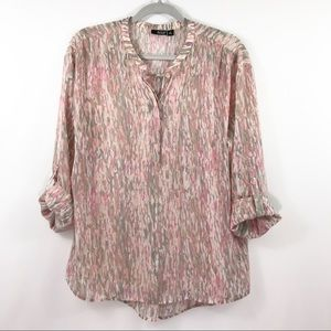 a.n.a. sheer blouse in marbled pastels